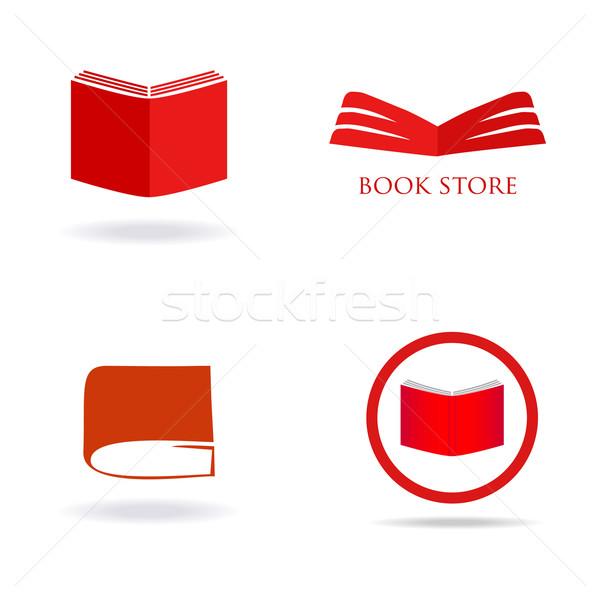 Könyvesbolt könyvtár logo felirat feliratok szett Stock fotó © mcherevan