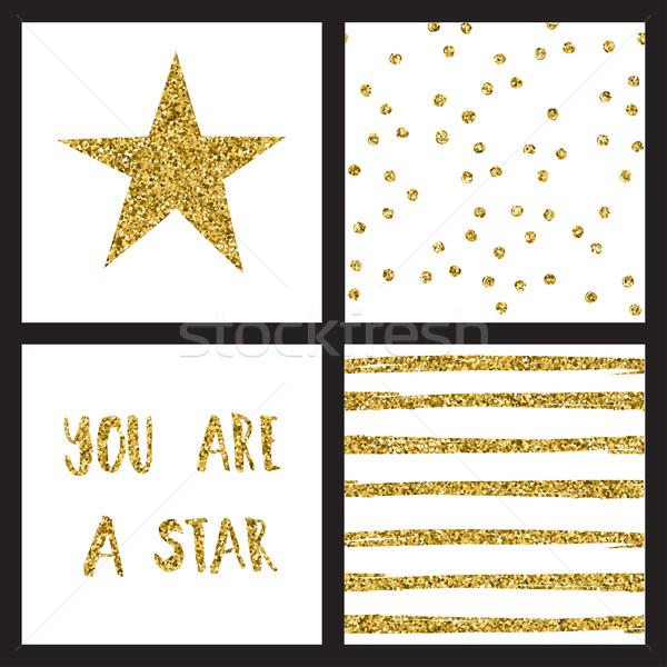 Ingesteld schitteren goud ontwerp kaarten sterren Stockfoto © mcherevan