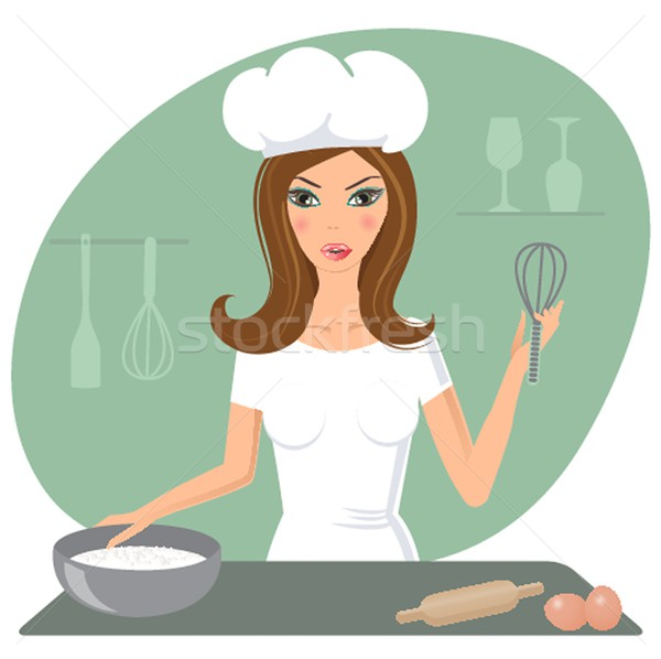 A happy very busy multitasking housewife Stock photo © mcherevan