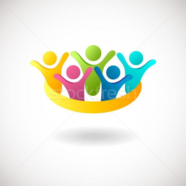 Abstract mensen logo teken icon Blauw Stockfoto © mcherevan