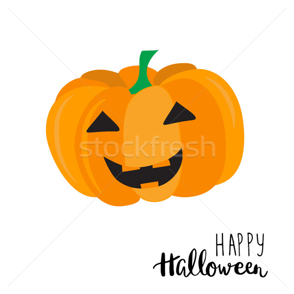 Boldog halloween kártya aranyos sütőtök szöveg Stock fotó © mcherevan