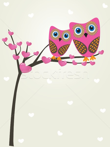 Deux cute hiboux carte Photo stock © mcherevan