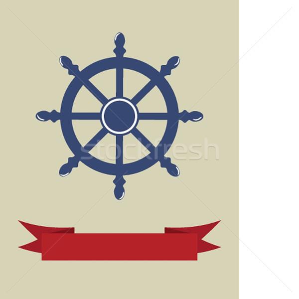 Kormánykerék hajó izolált fehér tenger utazás Stock fotó © mcherevan