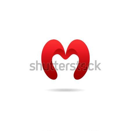 Mektup m logo tasarımı şablon kırmızı renkler vektör Stok fotoğraf © mcherevan