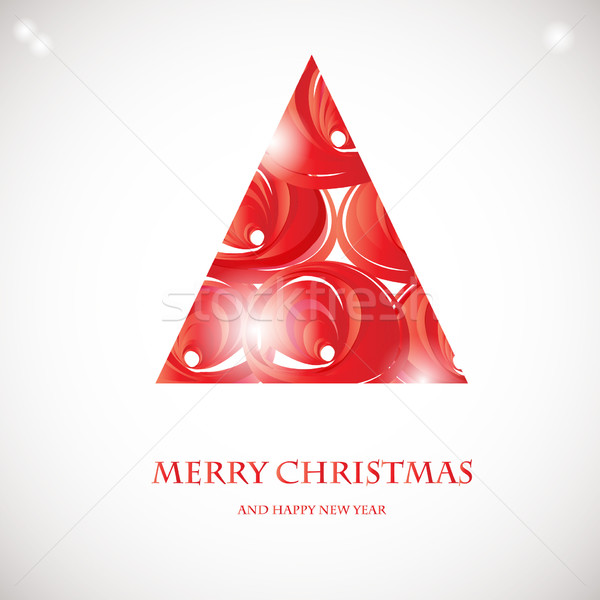 Abstract red christmas tree. Christmas Tree from abstract transparent elements.  Stock photo © mcherevan