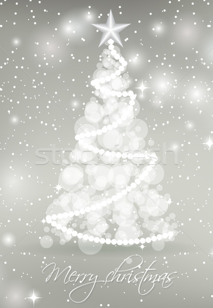 Abstract Christmas tree from circle lights on silver background with stars and snowflakes. Stock photo © mcherevan