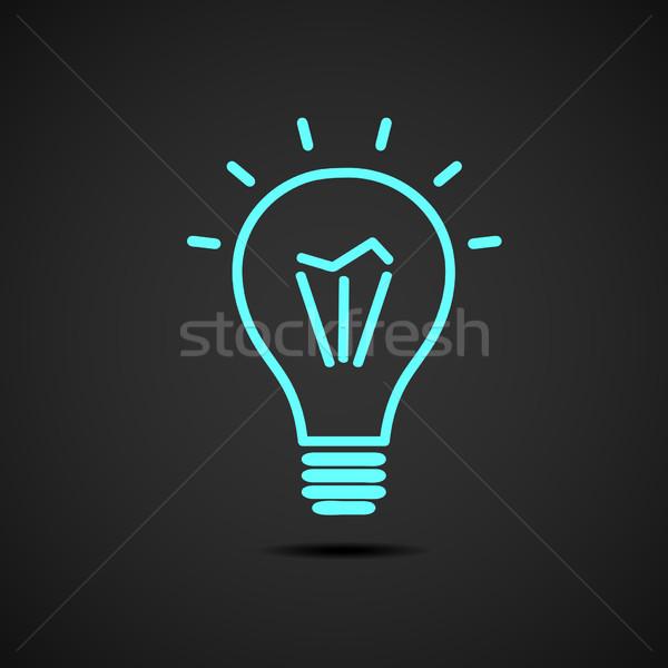 żarówka wektora ikona niebieski czarny technologii Zdjęcia stock © mcherevan
