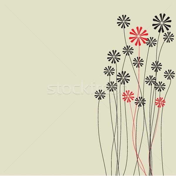 Stock fotó: Klasszikus · kártya · kézzel · rajzolt · virágok · üdvözlőlap · papír