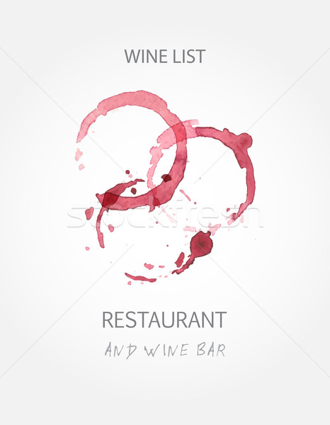 Wine list design templates with red wine stains Stock photo © mcherevan