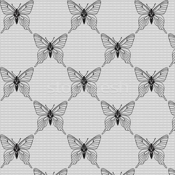Bianco nero senza soluzione di continuità farfalle moda design Foto d'archivio © mcherevan