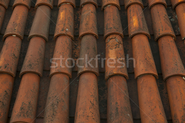 Old red tile roof old Tallinn city, Estonia Stock photo © mcherevan