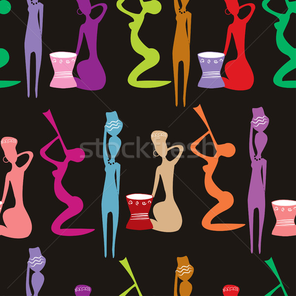 Seamless pattern of beautiful African women Stock photo © mcherevan