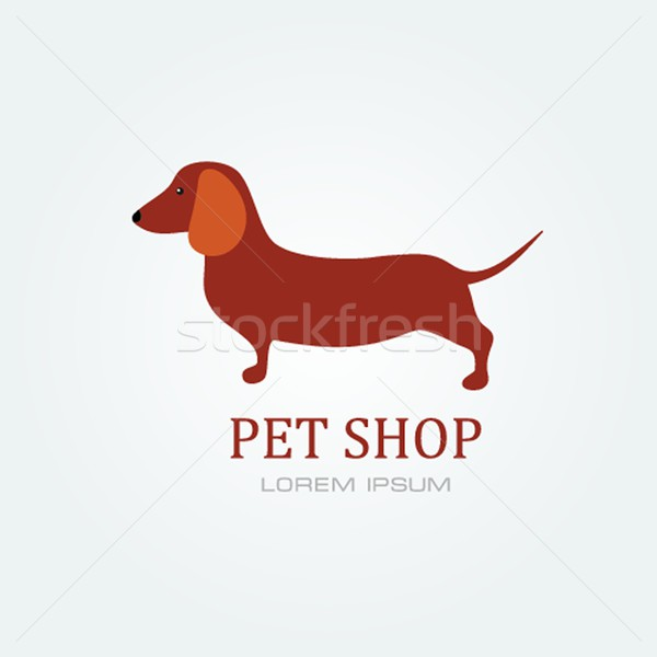 Pet shop Dog standing silhouette vector logo design . Stock photo © mcherevan