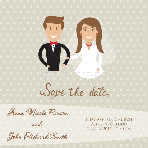 Wedding  card with newly wed couple. Save the date card with bride and groom Stock photo © mcherevan