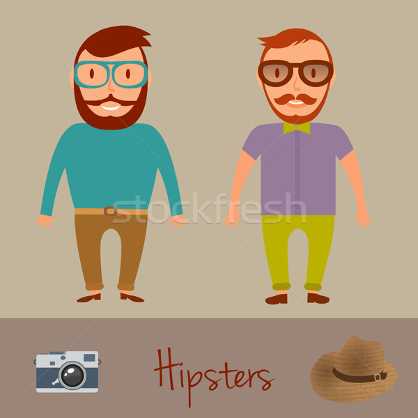 Hipsters character design. Two hipster style young mens. Vector illustration. Stock photo © mcherevan