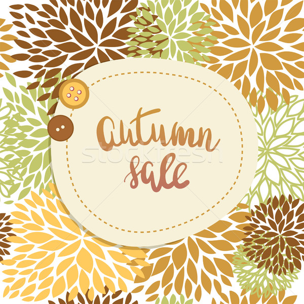 Autumn sale or offer banner design. Lettering text Autumn sale and two cute buttons on seamless flor Stock photo © mcherevan