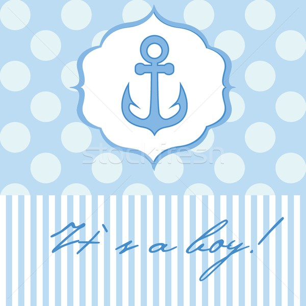 Baby boy shower card with cute anchor on seamless polka dots Stock photo © mcherevan