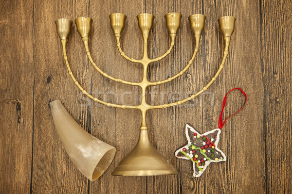 Nouvelle année bougie Noël ornements cookies corne Photo stock © mcherevan