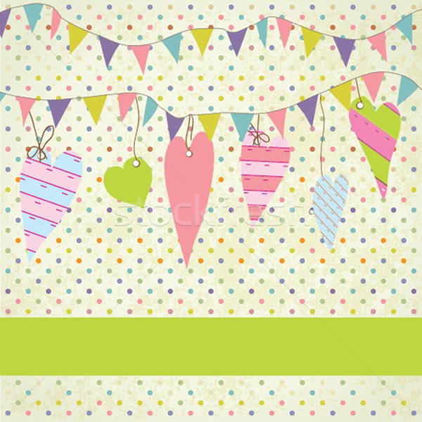 Vintage frame with birthday bunting flags Stock photo © mcherevan
