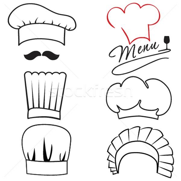 Stock fotó: Szett · különböző · szakács · sapkák · bor · művészet