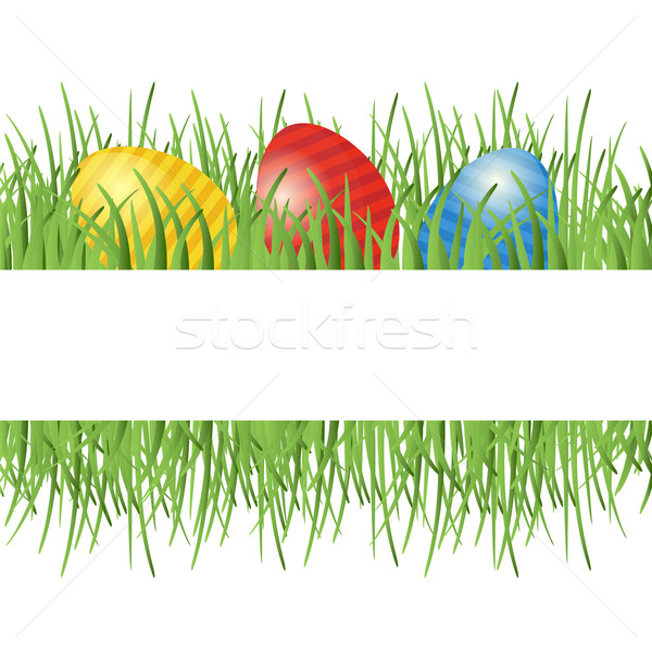 Easter background with eggs in grass  Stock photo © mcherevan