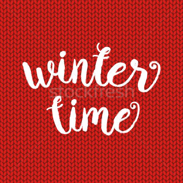 Hiver temps typographique affiche vecteur dessinés à la main Photo stock © mcherevan
