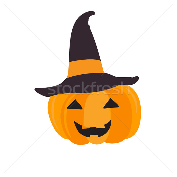 Halloween pumpkin with black witch hat. Abstract vector symbol of halloween isolated on white Stock photo © mcherevan