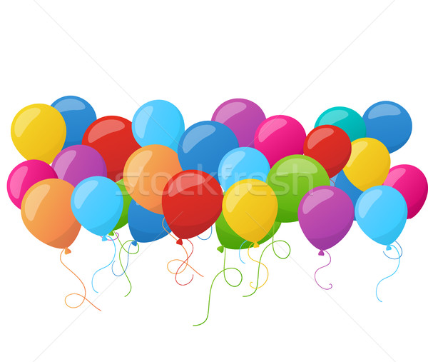 Abstract holiday birthday banner with colorful balloons. Vector. Stock photo © mcherevan