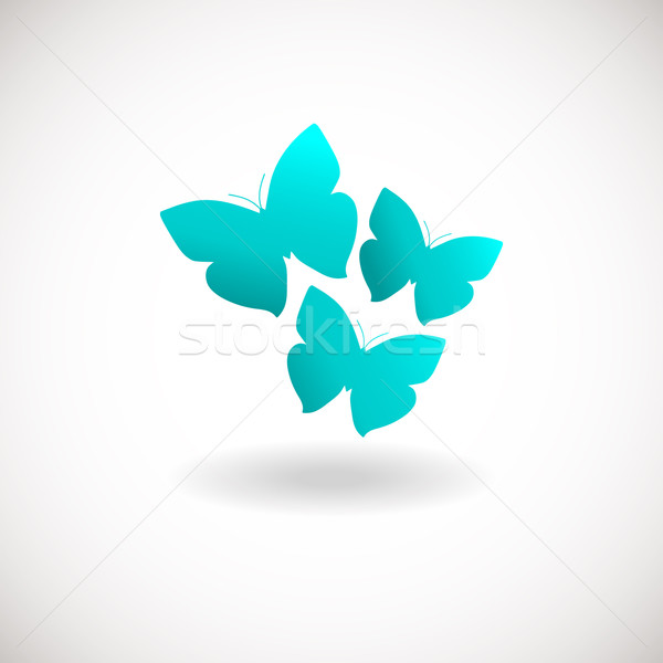 Stock photo: Three butterfly logo. Blue colors logotype.