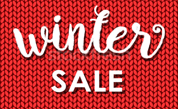 Winter sale. Ink painted inscription on red background from knitted wool. Vector illustration. Stock photo © mcherevan