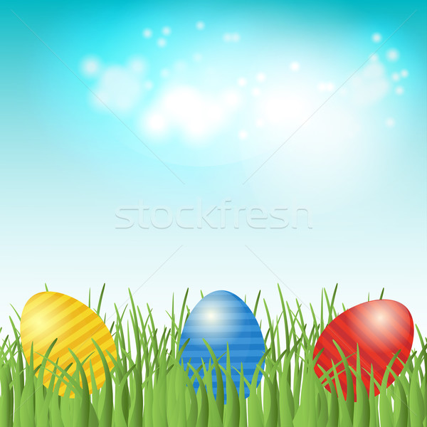 Easter background with copyspace in the sky featuring Stock photo © mcherevan