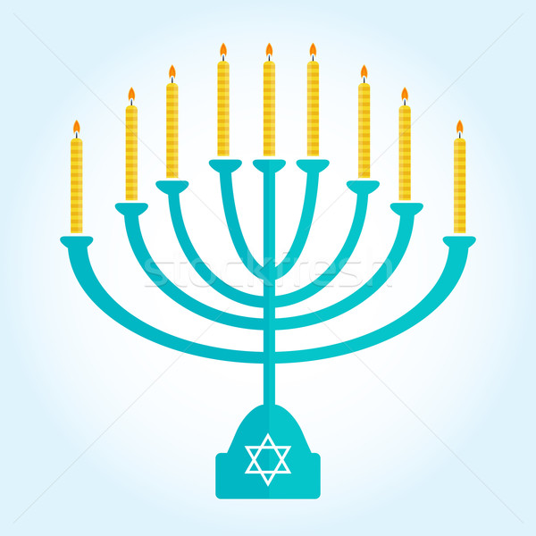 Stock photo: jewish holiday Hanukkah background with menorah Burning candles isolated on white