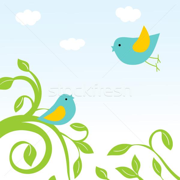 Buona pasqua carta uccelli uova nido Pasqua Foto d'archivio © mcherevan