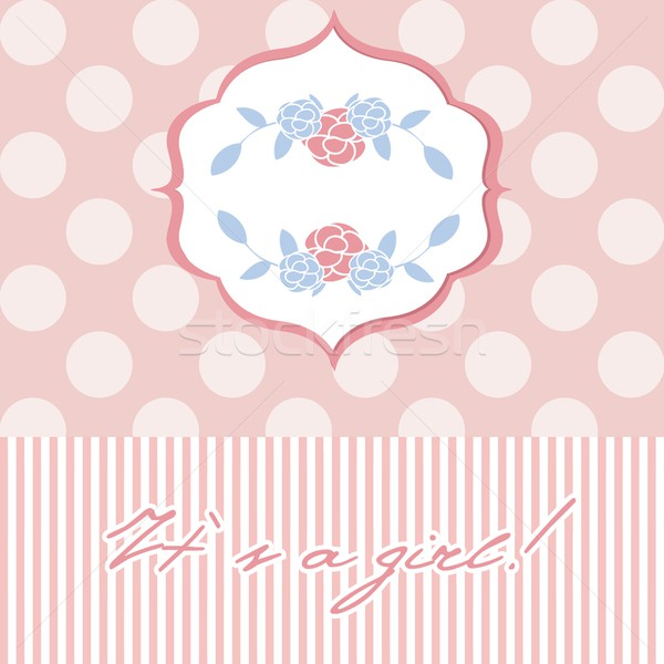 Baby girl shower card with  seamless polka dots Stock photo © mcherevan