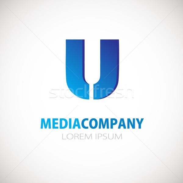 Levél logo ikon kék üzlet logotípus Stock fotó © mcherevan