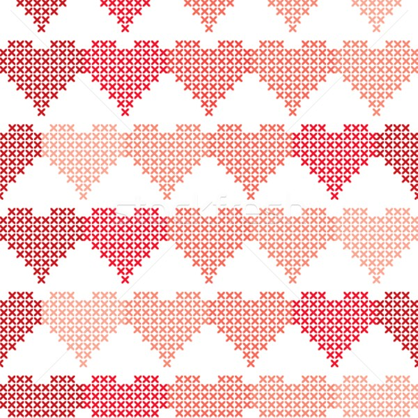 Seamless pattern with embroidered hearts Stock photo © mcherevan