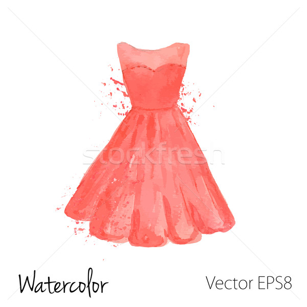 Vector watercolor painted red dress Stock photo © mcherevan