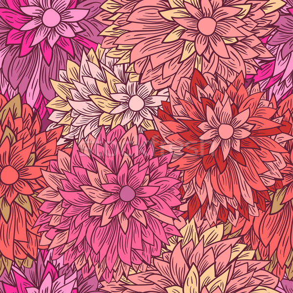Vintage floral pattern in pink colors. Hand drawn chrysanthemums flowers Stock photo © mcherevan