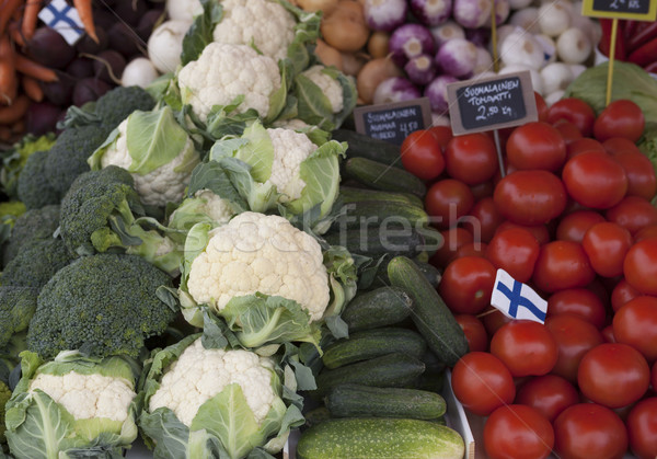Fresh vegetables on the market Brussels sprouts, cucumbers, tomatoes at the farmers market in Finlan Stock photo © mcherevan
