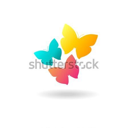 ストックフォト: 色 · 蝶 · ロゴ · 3 · 黄色