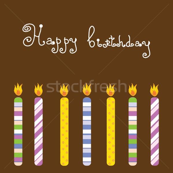 Velas de cumpleaños fiesta cumpleanos fondo diversión blanco Foto stock © mcherevan