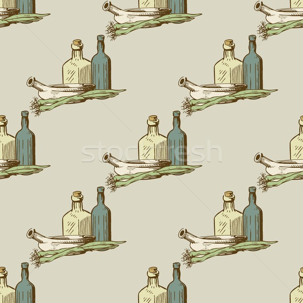 Seamless pattern with kitchen utensils and dishware in retro style. Stock photo © mcherevan