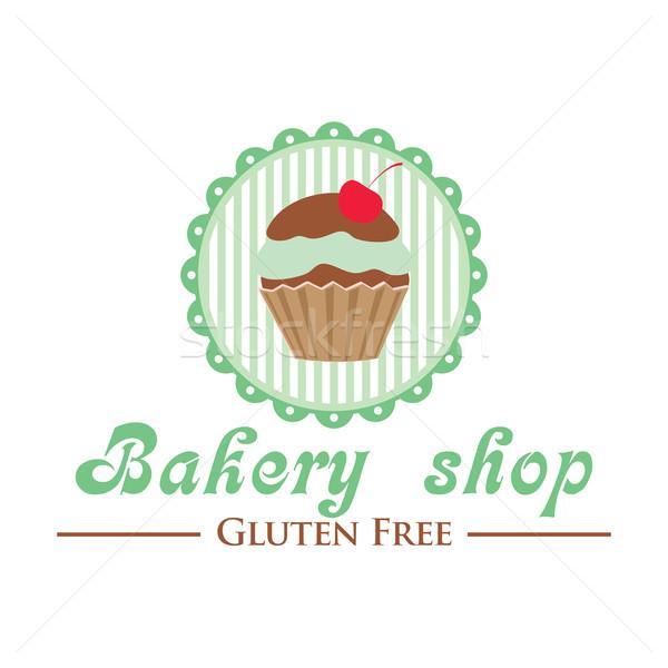 Bäckerei Laden logo cute Cupcake Stock foto © mcherevan