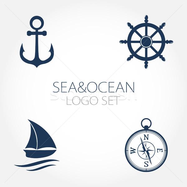 Zestaw morski logos ikona symbolika koła Zdjęcia stock © mcherevan