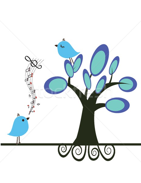 Cute blue birds on the love date Stock photo © mcherevan