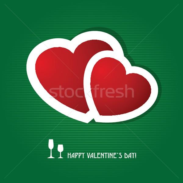 Stockfoto: Twee · Rood · harten · donkere · groene · valentijnsdag