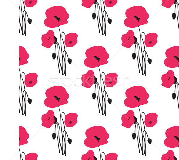 Seamless pattern with small red poppy flowers. Stock photo © mcherevan
