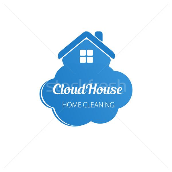 Bulut gökdelenler iş logo küçük mavi ev Stok fotoğraf © mcherevan
