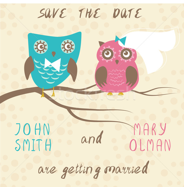 Wedding card with cute owls couple. Stock photo © mcherevan
