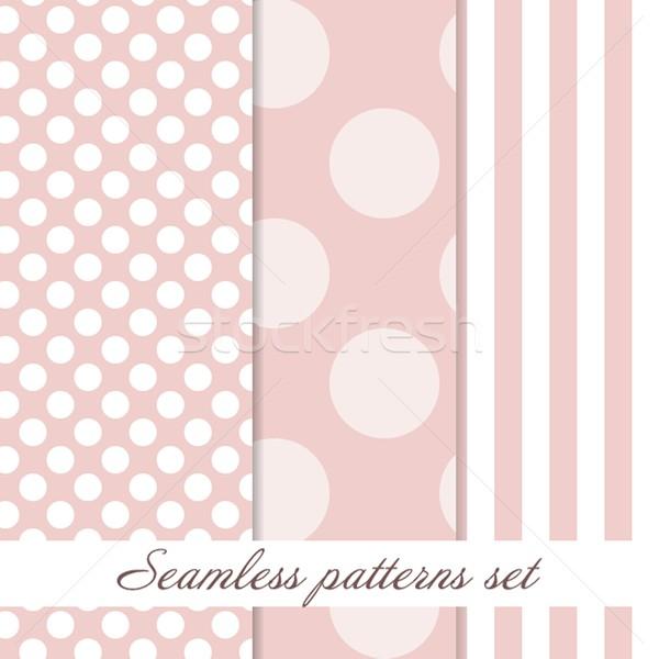 Set Seamless polka dot  vintage pattern Stock photo © mcherevan